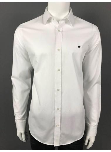 Abbate Klasık Yaka Kendınden Çızgılı Slımfıt Gömlek Beyaz